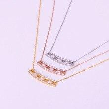 купить Trendy Women Necklace Roman Numerals Cubic Zirconia Personality Link Chain Pendant Necklaces Female Stainless Steel Jewelry дешево