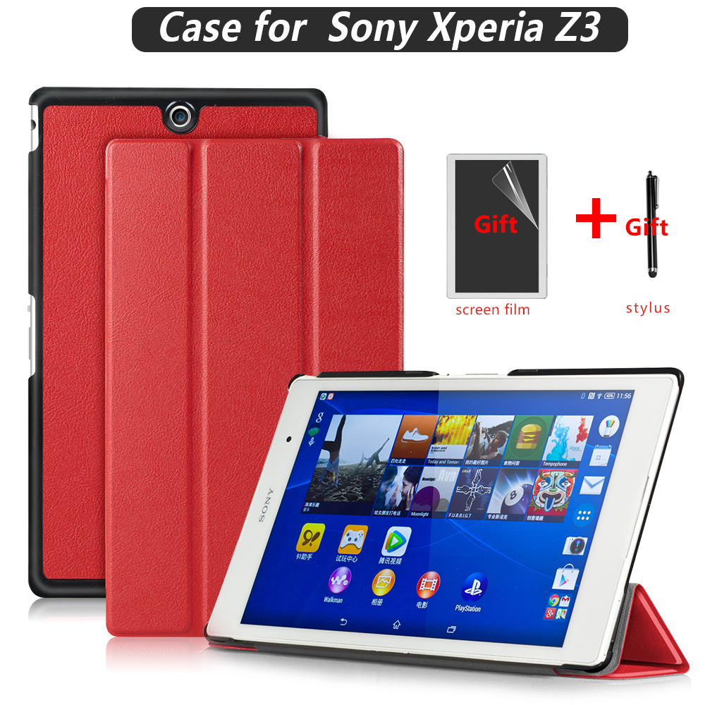 PU Leather Cover Stand Case For Sony Xperia Z3 Tablet Compact 8 Inch With Magnet + Screen Protector + Stylus