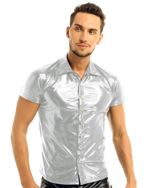 iiniim Mens Fashion Sexy Clubwear Patent Leather Shirt Undershirt for Male Costumes Evening Party Tops Streetwear Male Clothing 4