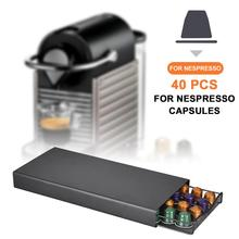 40 Pods Coffee Capsule Organizer Storage Stand Practical Coffee Drawers Capsules Holder For Nespresso Coffee Capsule Shelves new metal coffee pods holder iron chrome plating stand coffee capsule storage rack dolce gusto capsule free shipping