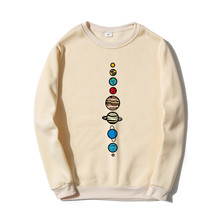 Planety kolor mężczyźni bluza z kapturem bluzy 2020 jesień zima ciepły polar wysokiej jakości kreatywny Design śmieszne stylowe topy tanie tanio OKMJS CN (pochodzenie) Pełna Na co dzień Drukuj REGULAR O-neck OKMJS-HX2133 Brak COTTON Poliester Luźne NONE Tops Pullover