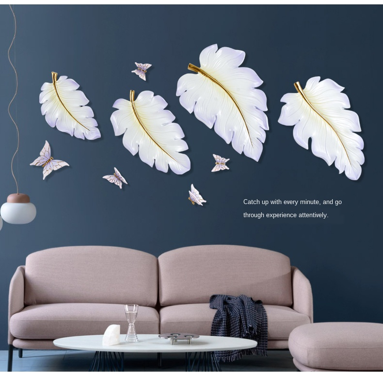 3D Leaf Style Wall Clock For Home Decoration Free Shipping