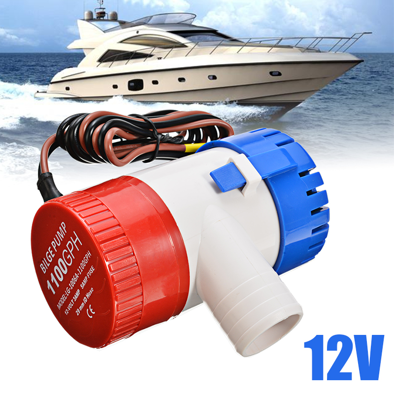 1pc <font><b>1100</b></font> <font><b>GPH</b></font> 12V Submersible Marine <font><b>Pump</b></font> Boat <font><b>Bilge</b></font> Water <font><b>Pump</b></font> With Float Switch For Marine RV Campers Industrial Supplies image