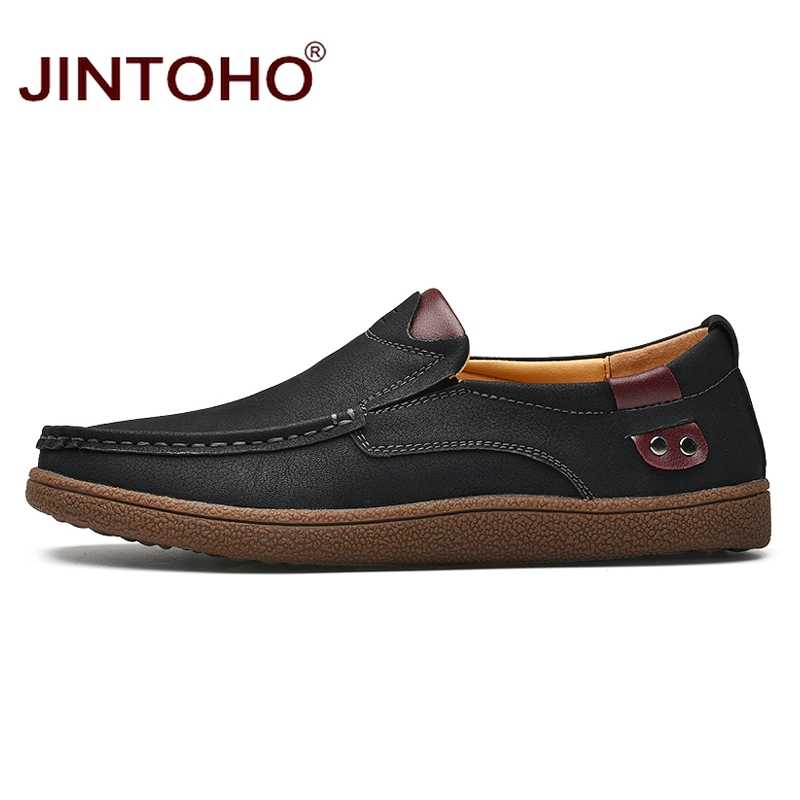 JINTOHO Mode Marke Männer Schuhe Männer Echtes Leder Schuhe Casual Männer Schuhe Männliche Leder Schuhe Slip Auf Männer Müßiggänger