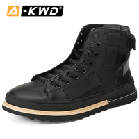 Fashion Autumn Breathable Mens Boots Genuine Leather High Top Tooling Shoes Black Knight Lace up Men Boot Chaussure Hiver Homme