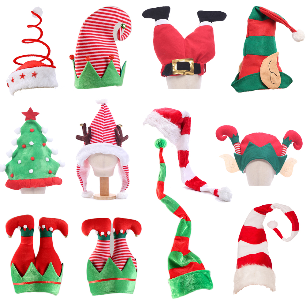 Christmas Turkey 2020 2020 Christmas Hat Plush Elf Santa Hat Cute Stripes Cartoon