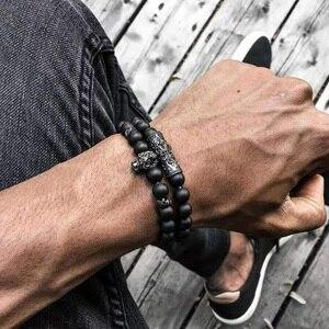 Pulseira de pedra onyx preta, pulseira de leão artesanal para mulheres, joias charme, moda 2019, dropshipping