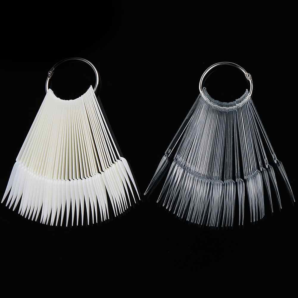 40Pcs Fan Shape Nail Art Polish Kleur Kaart Praktijk Sample Valse Tips Display Gemakkelijk te dragen en display de kleur en nail desig