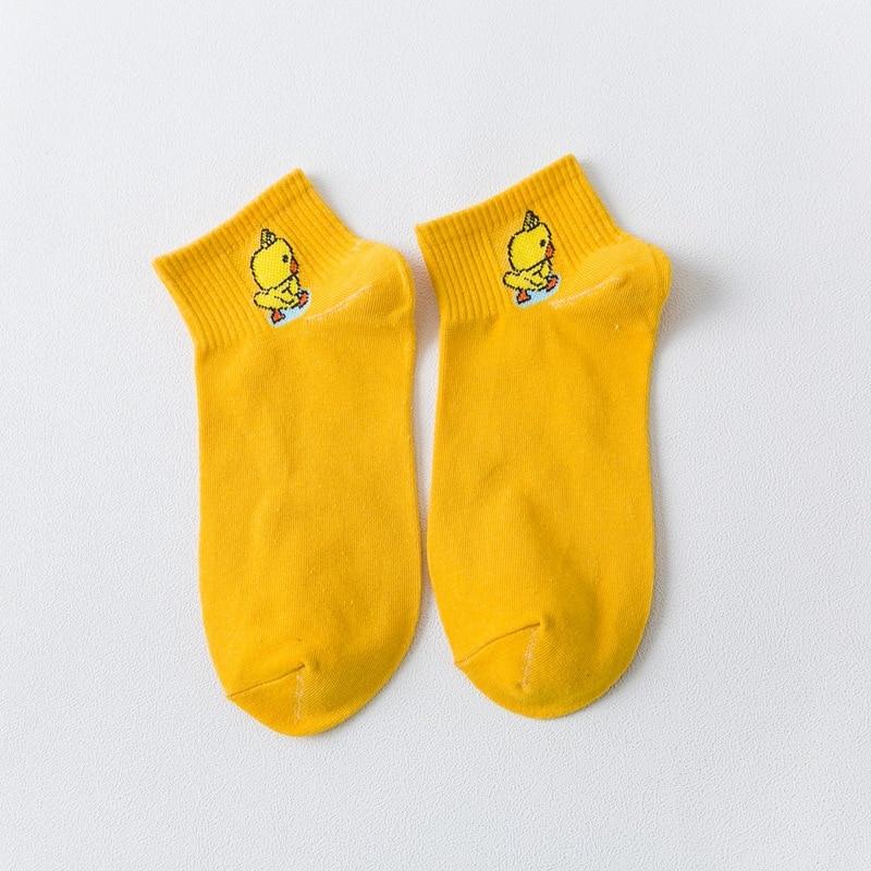 5Pairs Lot Women Cotton Socks Duckling Novelty Cute Socks New Print Funny Fashion Casual Harajuku Happy Socks women in Socks from Underwear Sleepwears