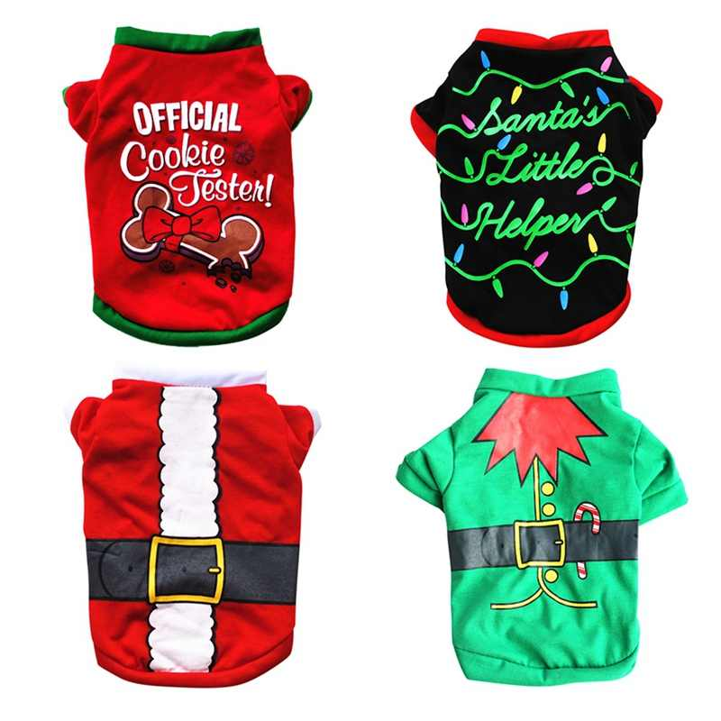 COS Props Christmas Pet Dogs Vest Costume Cute Cartoon Shirt Dress Xmas Apparel For Kitty Dog