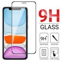 Protector de pantalla de cristal templado para iPhone, película de cobertura completa para iPhone 12 11 13 Pro Xs Max X 7 8 Plus SE 2020 10 12 MIni XR 6 6s