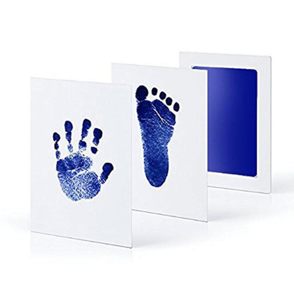 Baby Care Disposable Wash Pad Non-Toxic Baby Footprints Handprint Kit Family Souvenir Baby Shower Gift Imprint Card Set