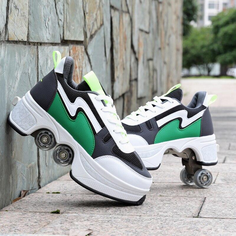 Déformer les patins à roulettes chaussures Double rangée Double roue chaussures de course automatique quatre roues Double usage Skateboard chaussures