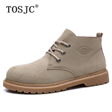 цена TOSJC Fashion Man Casual Ankle Boots Outdoor Non-slip Work Boots Retro Round-toe Men's Solid Shoes Lace-up Desert Boots for Men онлайн в 2017 году