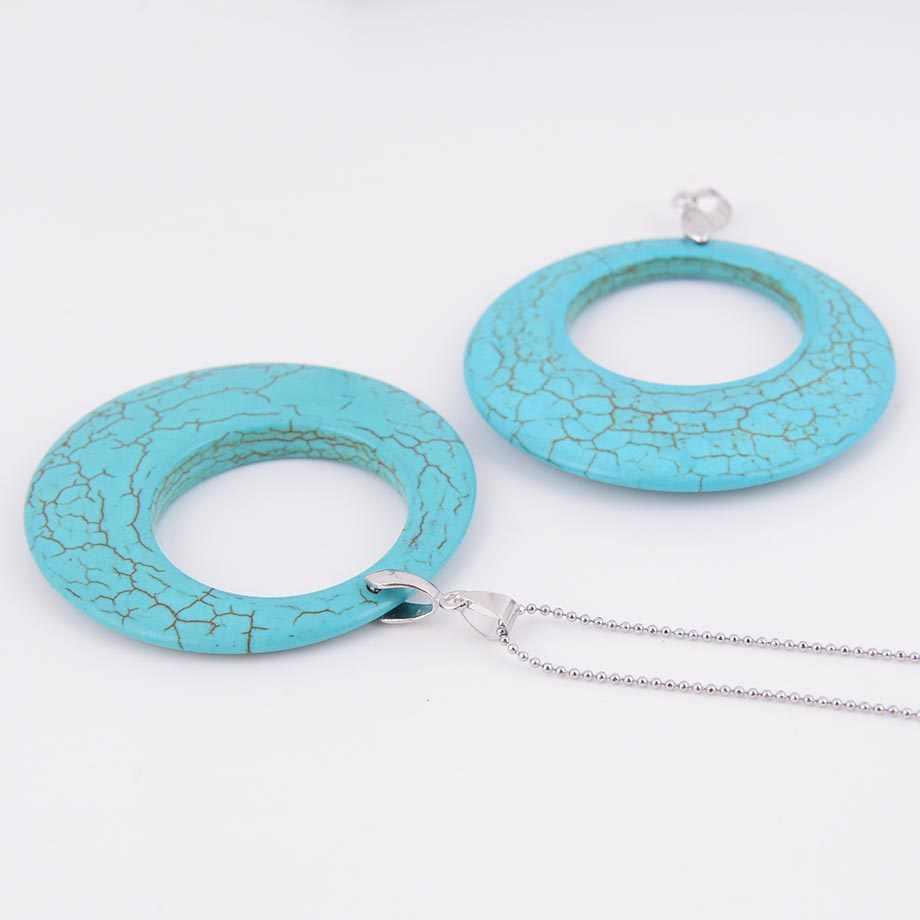 Натуральный камень зеленый Howlite большой круг Форма кулон ожерелье Подходит для женщин и мужчин Шарм целебные ювелирные изделия D551a
