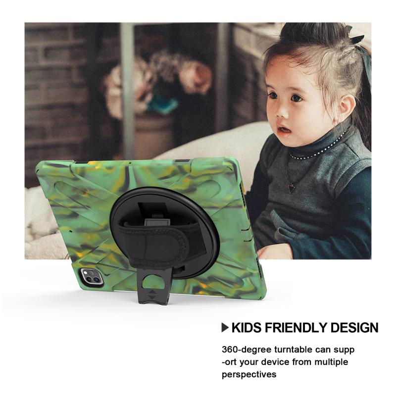 For 12.9 Case 2021 Protection Strap iPad Rugged Pro Duty A2462 A2379 Cover Kickstand A2461 with Heavy Hand+Neck