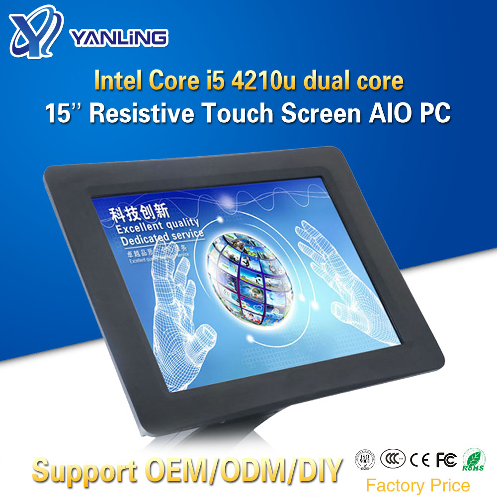 Yanling 15 Inch Resistive Touchscreen All-In-One PC Intel I5 4210u Dual Core 1024x768 Industrial Fanless Panel Computer For POS