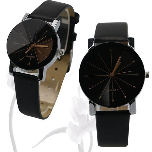 Men Women Watch Fashion Alloy Round Case Faux Leather Couple Watches Quartz Sports Dress Lover's Wrist Watches Zegarek Damski