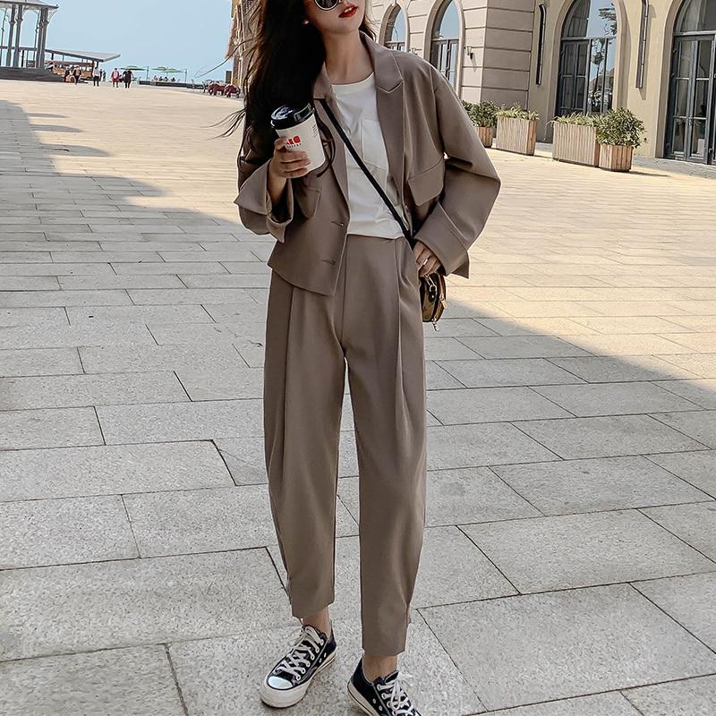 casual Blazers for women 2 piece set Pant Suits 2020 Autumn loose Office two piece outfits Suit female korean fashion