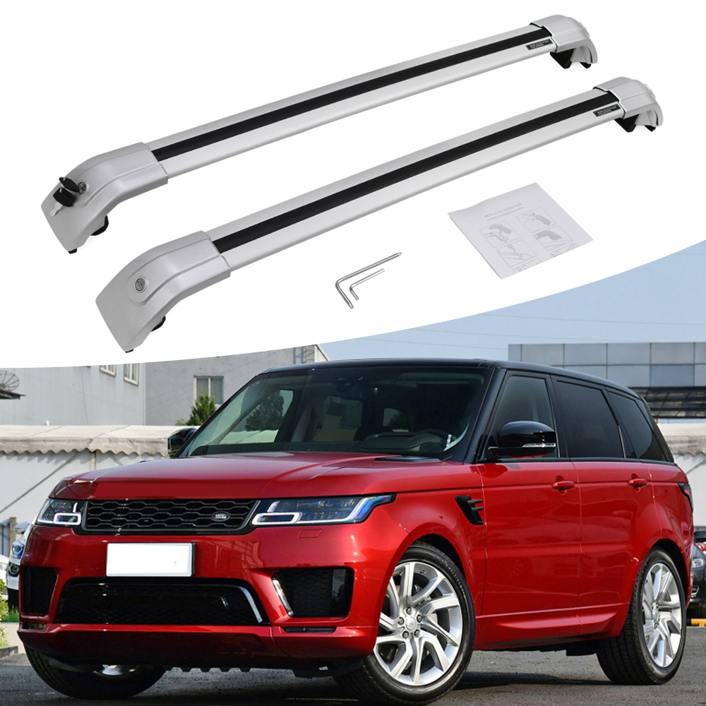 2 Pieces Silver Cross Bar Crossbar Roof Rail Rack Fit For Land Rover Range Rover Sport 2014-2019 Lockabe