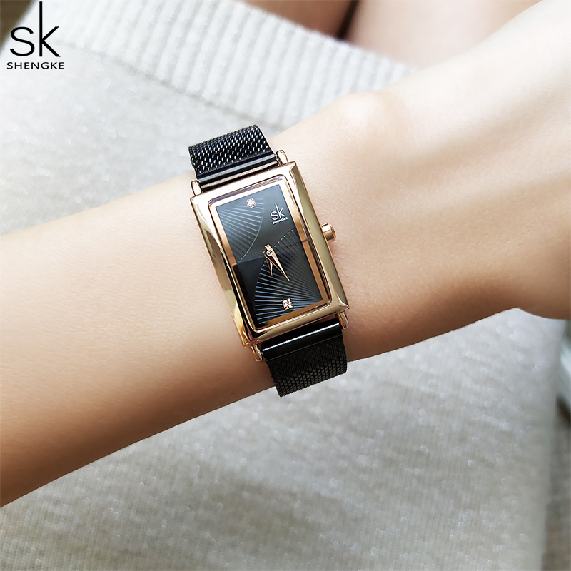 Shengke New Top Brand Luxury Women Watch Rectangle Dial Elegant Quartz Japanese Ladies Wristwatches Waterproof Gift Reloj Mujer