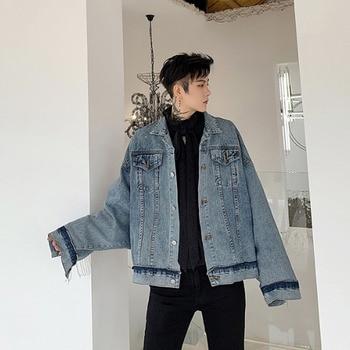 Men Bat Sleeve Tassel Loose Casual Short Denim Coat Male Women Vintage Fashion Streetwear Hip Hop Jean Jackets Cowboy Outerwear
