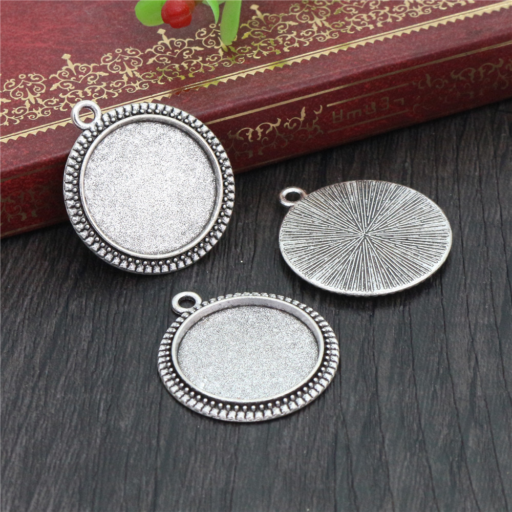 10pcs 20mm Inner Size Antique Silver Classic Style Cabochon Base Setting Charms Pendant (D2-02)