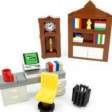 MOC arkadaşlar City bilgisayar masa saati yapı taşları çocuklar için oyuncaklar uyumlu kitaplık araya tuğla yaratıcı mobilya DIY oyuncak
