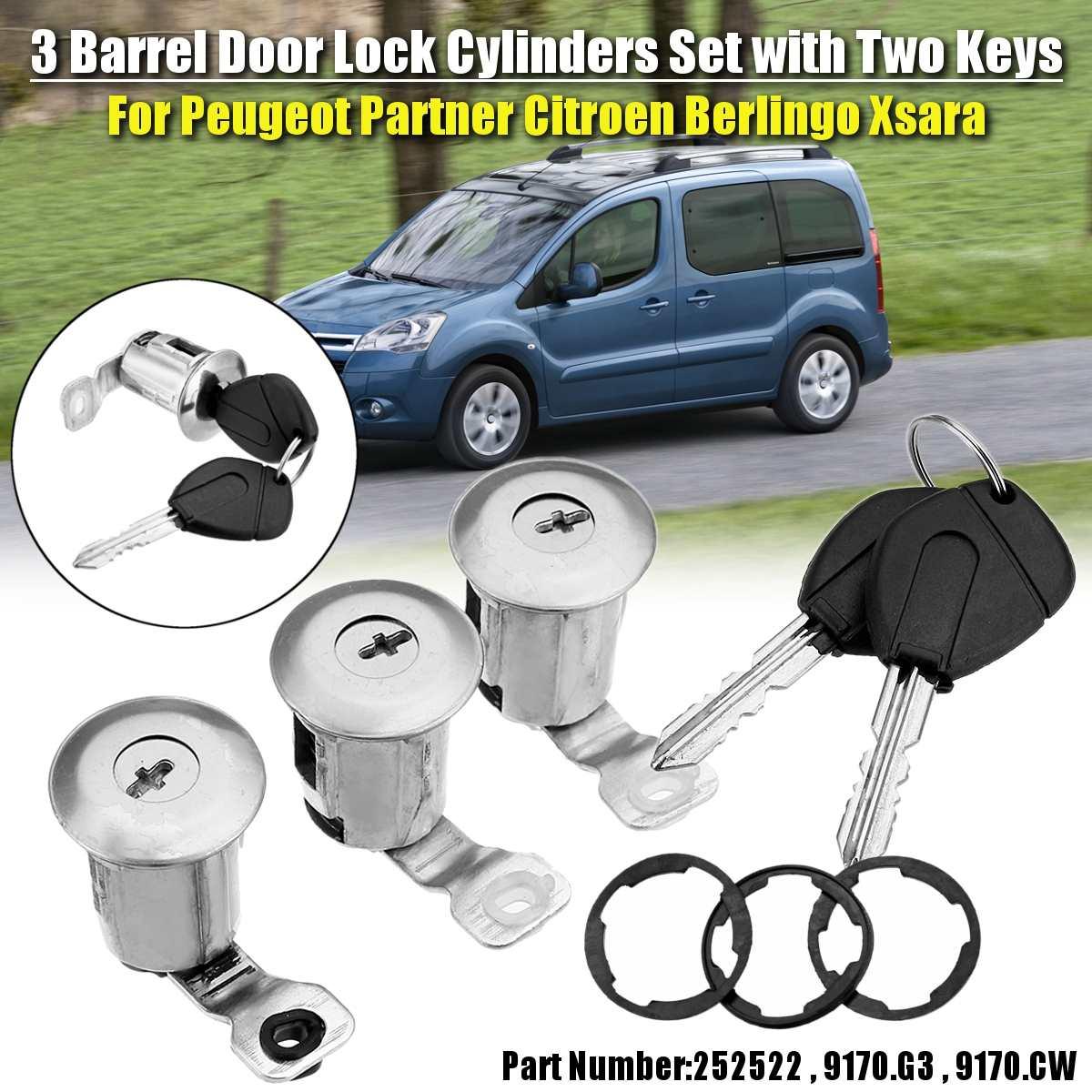 9170G3 252522 cylindre de serrure de porte gauche droite avec 2 clés pour CITROEN BERLINGO XSARA PICASSO pour PEUGEOT PARTNER accessoires de voiture