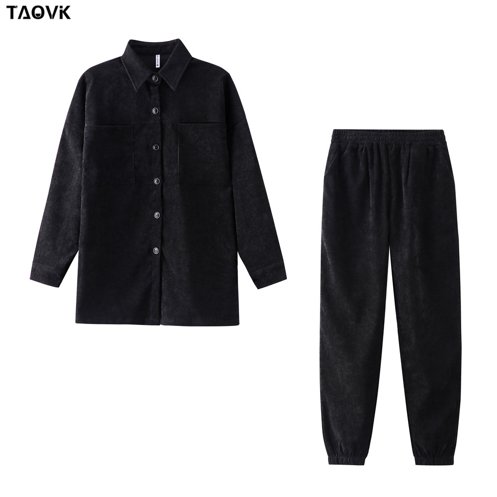 TAOVK Women's tracksuit corduroy  Pinstripe Single-breasted pocket Tops and pants women suits 10