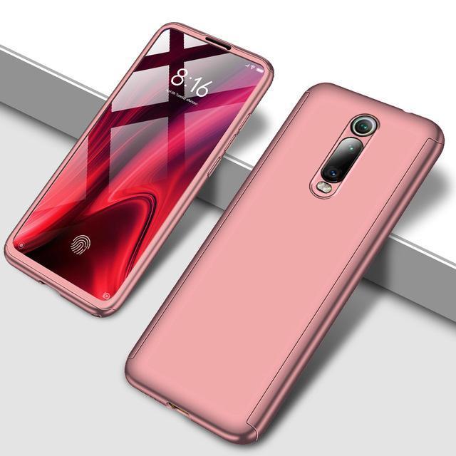 Противоударный 360 градусов чехол для телефона для Xiaomi Redmi Note 5 5A 6 7 8 Pro Полный Чехол для Redmi 7 7A K20 Pro Fundas Capa Coque - Цвет: Розовый