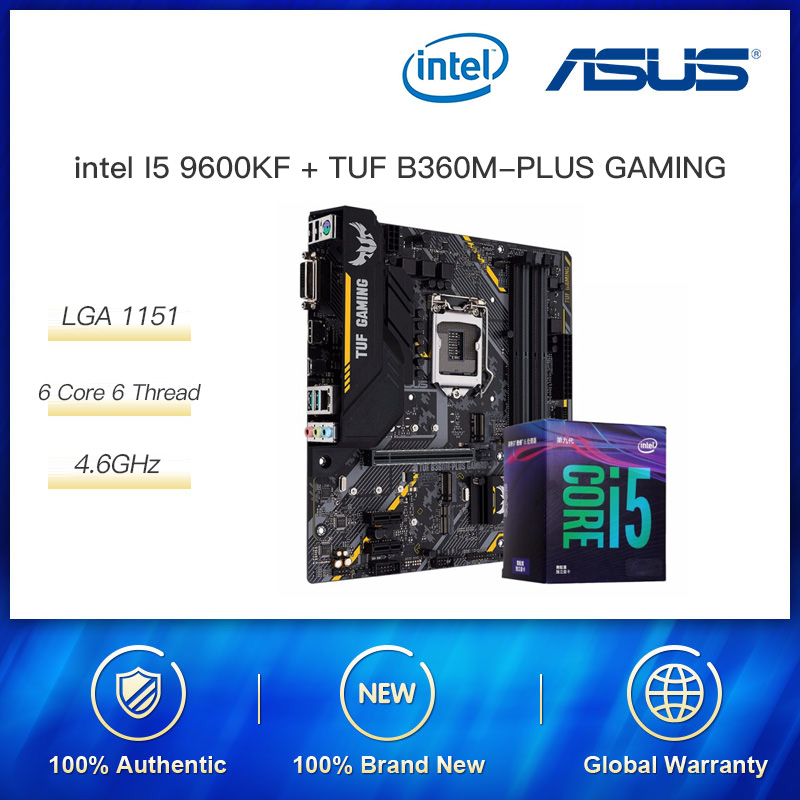 Intel Core I5 9600KF Boost 4.6 GHz CPU Processor With Original Box ASUS Z390 Motherboard GAMING (WI-FI) Motherboard Cpu Combo image