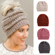 Autumn and winter hot spot yarn mixed yarn knitting ponytail hat for men and women стоимость