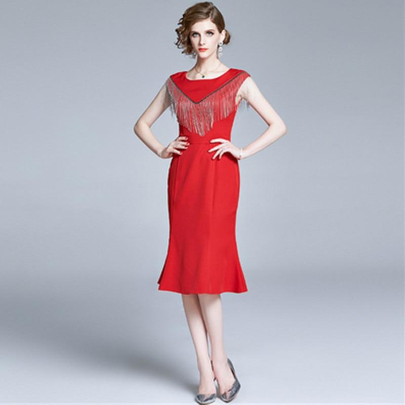Fleepmart Women Elegant Luxury Tassel Party Dress High Quality Red Black Evening Wedding Mermaid Dresses 2020 New Summer,Wedding Dresses For Girls Short Frock