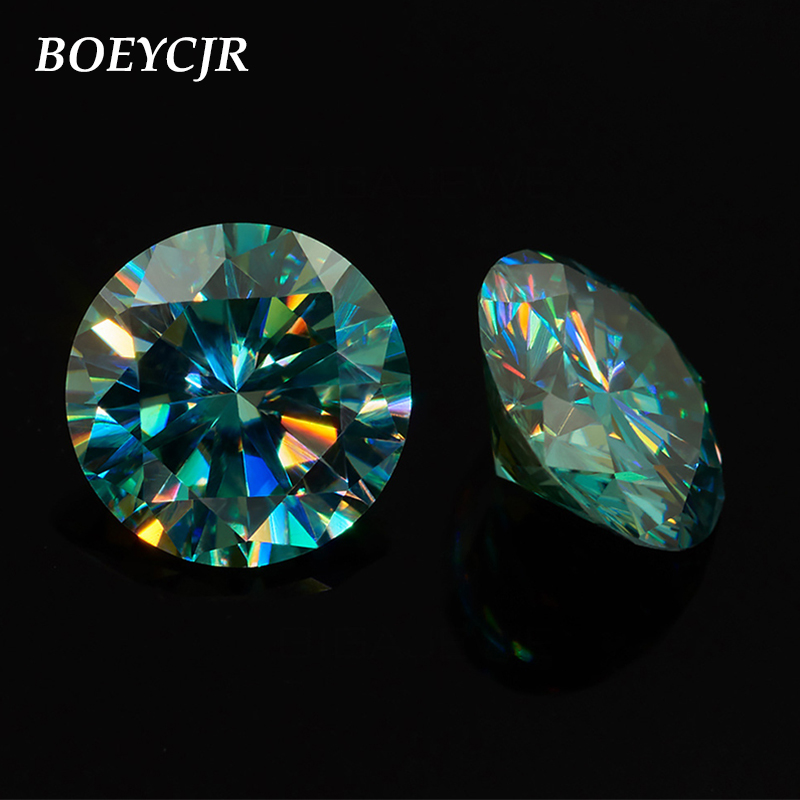 BOEYCJR 2ct 8mm Round Brilliant Cut Blue Moissanite Loose Stone VVS1 Excellent Cut Jewelry Making Stone