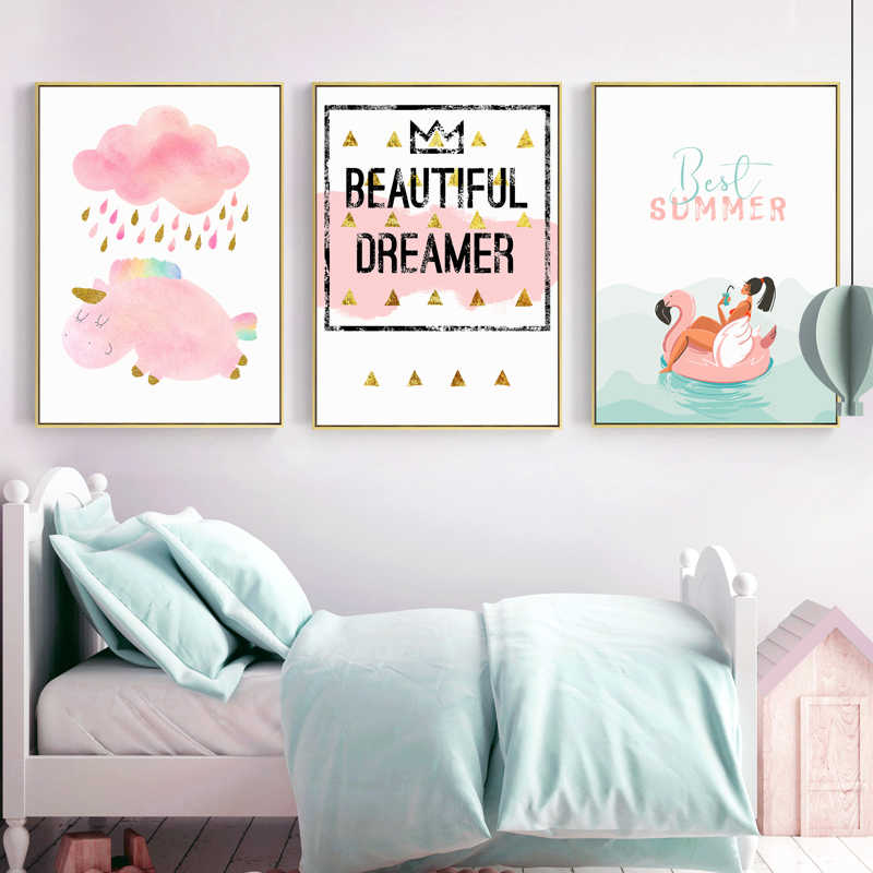 Nordic Cartoon Pink Canvas Painting Poster And Print Wall Pictures For GIRL Room Decor,