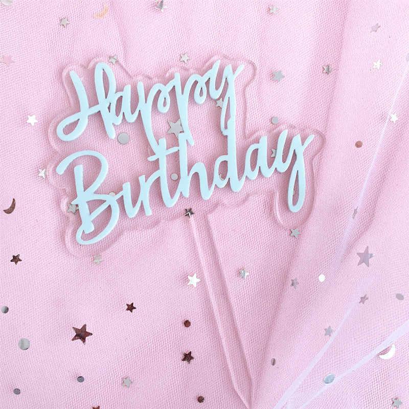 มีสีสันDouble Layerโปร่งใสอะคริลิคเค้กวันเกิดแฮปปี้Topperเด็กอุปกรณ์ของวันเกิดตกแต่ง