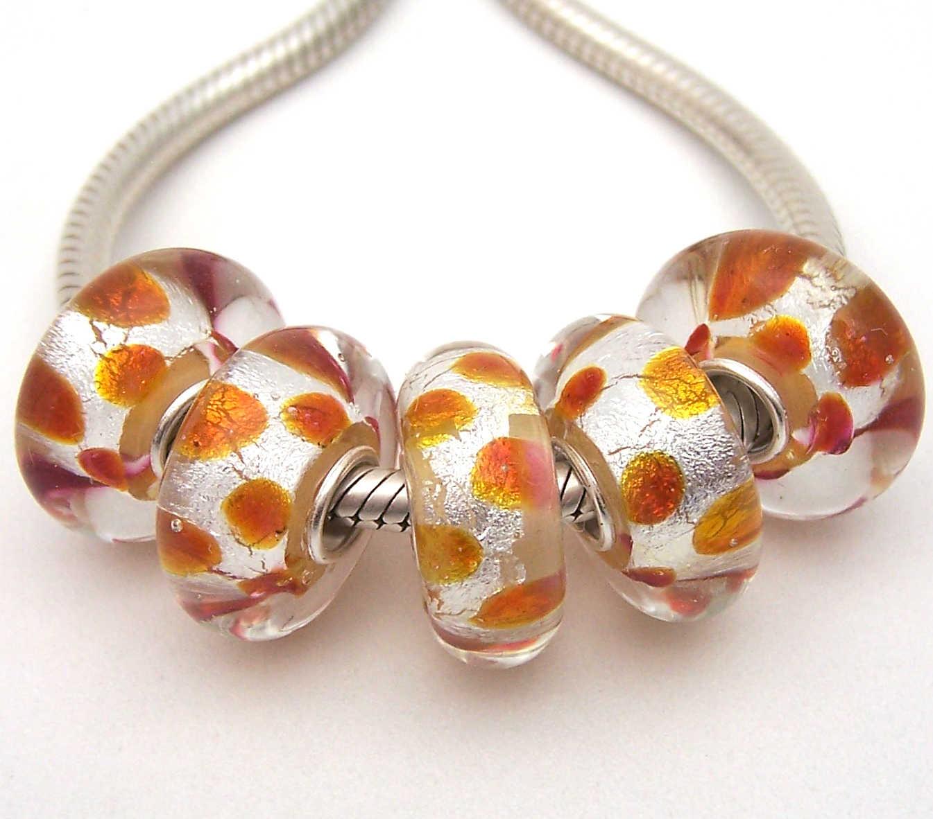 JGWGT 1990 5X 100% Autenticità S925 Sterling Silver Perle di Murano perle di Vetro Europeo Adatto Pendenti E Ciondoli Braccialetto di diy dei monili di Lampwork