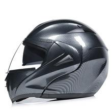 цена на Electric motorcycle helmet imitates carbon fiber, decal dot cross country helmet double lens uncovering helmet running helmet
