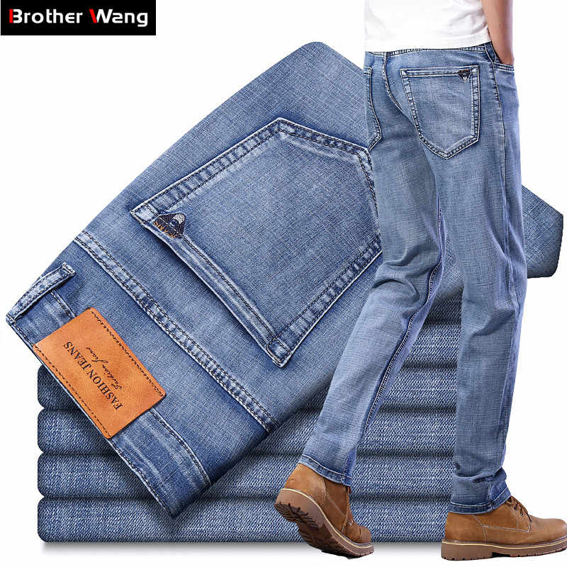 2020 Summer New Men's Light Blue Thin Jeans High Quality Advanced Stretch Regular Fit Denim Trousers Male Brand Gray Pants