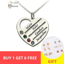 StrollGirl Personalized 925 Sterling Silver Heart Necklace Engraved Name Pendant Necklaces fashion Jewelry For Women Mother Gift personalized necklaces 925 sterling silver engraved necklaces diy personalized jewelry family children mother pendants necklace