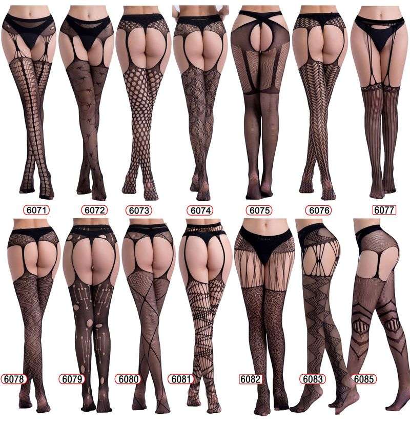 Erotic Underwear Hollow Garter Jacquard Pants Bottoming Pantyhose Big Mesh Fishnet Socks Sexy Lingerie For Sex Intimate Goods