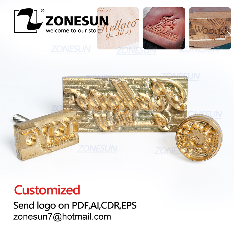 ZONESUN Custom Logo Metal Brass Branding Iron Mould For Wood Leather Stamp Design Cake Bread Cliche Mold Heating Embossing Tool