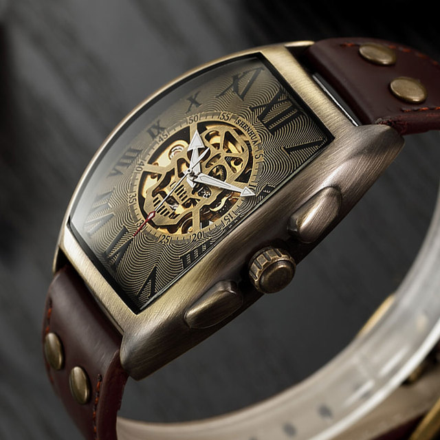 شفافة الهيكل العظمي التلقائي الميكانيكية ساعة الرجال حزام جلد طبيعي العلامة التجارية الفاخرة الذاتي لف الرجال ساعة ريترو على مدار الساعة