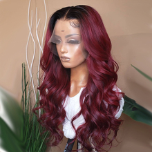 Blacke Red Burgundy Body Wave Wig Pre Plucked Human Hair Wigs 180% Brazilian Remy Hair