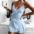Пикантная ночная рубашка женская кружевная шелковая атласная ночная рубашка без рукавов с V-образным вырезом ночная рубашка размера плюс 3XL...