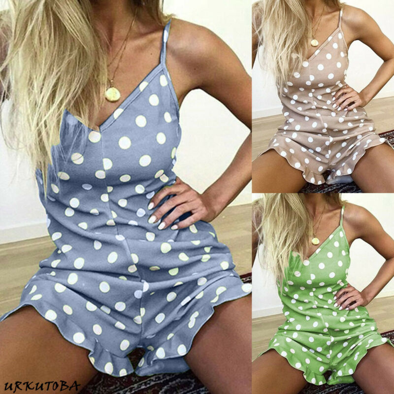 Women Fashion Polka Dot Printed Sling Collar Holiday Straps Playsuit Romper Ladies Jumpsuit Shorts Size 6-12 Playsuit