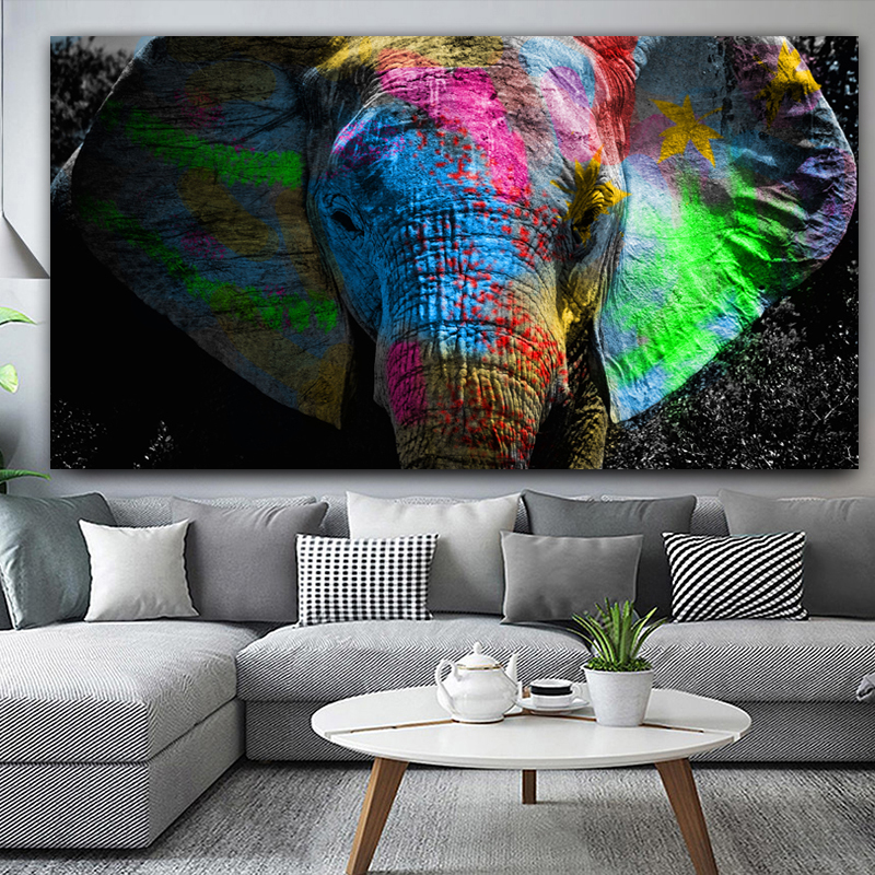 RELIABLI Colorful African Elephant Animal Painting Oil Painting On Canvas Wall Art Pictures For Living Room Bedroom NO FRAME