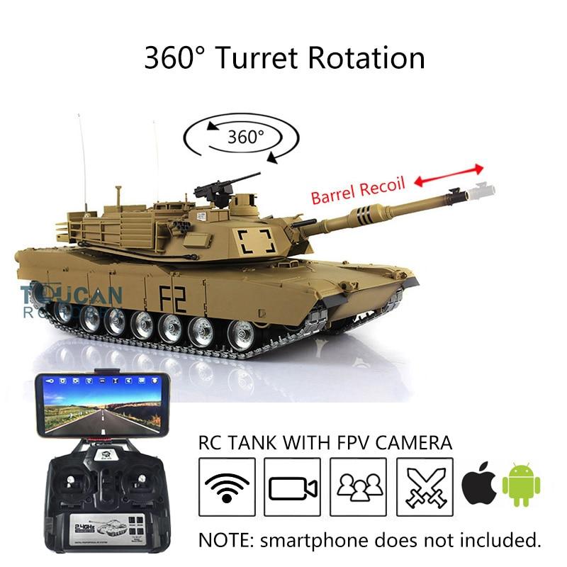 Henglong 1/16 6.0 Customize Abrams FPV RC Tank 3918 360° Turret Barrel Recoil TH16256