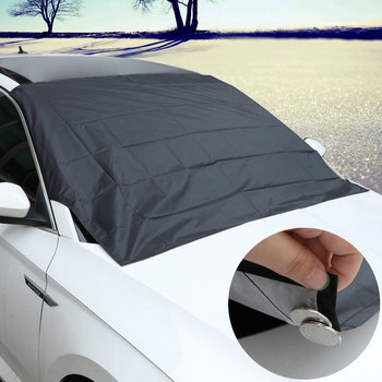 Mocna magnetyczna osłona przeciwsłoneczna do samochodu na przednią szybę srebrna tkanina śnieg parasol przeciwsłoneczny wodoodporna osłona przeciwpyłowa pokrywa zimowe przednie okno samochodu tanie i dobre opinie CARSUN Silver Cloth Inverted triangle Beam bag 150g 203*116*146cm Black Magnetic Sunshade